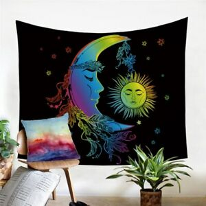Moon Star Boho Floral Wall Tapestry Hanging Throw Cover Home Room Decoration