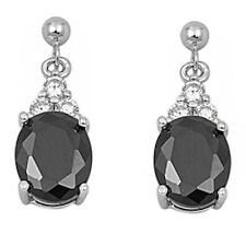 DANGLING OVAL BLACK ONYX & CZ .925 Sterling Silver Earrings