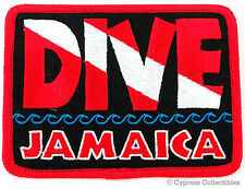 DIVE JAMAICA - EMBROIDERED PATCH SCUBA DIVING FLAG LOGO IRON-ON TRAVEL SOUVENIR
