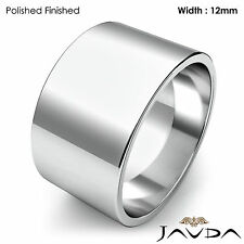 Wedding Band Women Plain Flat Pipe Cut Ring 12mm 18k White Gold 12.2gm Sz 6-6.75