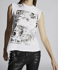 Dsquared2 Womens Sleeveless T-Shirt 100% Cotton Round Neck Printed Tee Top