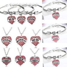 Pink Women Pendant Heart Necklace Sister Mothers Gifts Bracelet Jewelry Friends