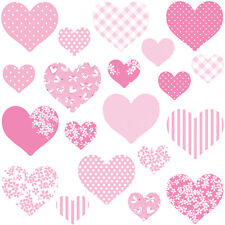 Childrens Pink Love Heart Wall Stickers Multipinkhearts Hart.4.m Medium
