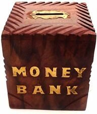Wooden Handicrafted Kids Saving Coin Box Piggy Money Bank Home Decor Gift Item