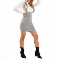 New Womens Bodycon Check DogTooth Gingham Frill Pinafore Ruffle Mini Check Dress
