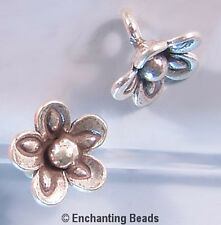 Karen Hill Tribe Silver Pinched Flower Drop Beads T439 (3) Droplets Charms 10mm