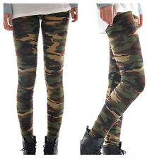 Damen Camouflage Leggings Leggins Jegging Tregging Elastische Skinny 7/8 Hose