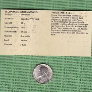 Vatikan - Silber münze 5 Lire 1940 (M203)
