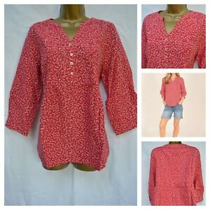 EX BRAKEBURN £38 FORGET ME NOT BLOUSE TOP TUNIC SHIRT RED FLORAL SIZE 12 - 20
