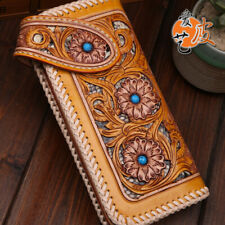 High quality Genuine Leather hand painted long tranditional hollow out wallet