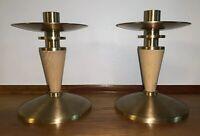 Vintage Art Deco / Modern Brass & Blond Wood Candle Holders, Pair
