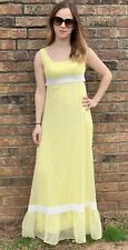 VTG 1970's Dress Small Teen Girl Prom Bridesmaid Yellow Polkadots