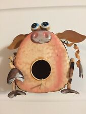 Decorative Pig Birdhouse Tin Metal Pink 8 x 6 Indoor Outdoor