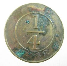 DOMINICAN REPUBLIC 1/4 REAL 1848 BRASS KM2 SHARP 12# WORLD MONEY COIN