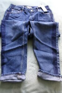 Topshop Moto Mom high waisted jeans blue with dark blue stripe W30 L32