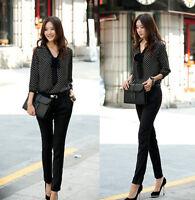 Women's Elegant Polka Dot Bowknot Long Sleeve Loose Chiffon Shirt Blouse Tops