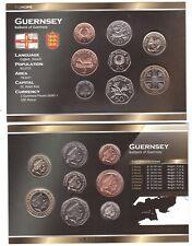 Guernsey set 8 coins 1 2 5 10 20 50 P 1 2 Pound 1998 -2012 UNC in cardboard box