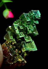 22g   Mystery of rare natural bismuth crystal square hole crystal cluster