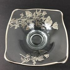 Vintage Clear Glass Candy Dish Silver Overlay Floral Poppy Design Bowl Footed