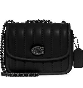 ❤️Coach Madison Small Quilted Gunmetal/Black Leather Shoulder Bag