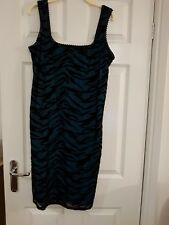 SEVEN BLACK & TURQUOISE COCKTAIL DRESS - SIZE 16 - CANT POST 7th - 24th