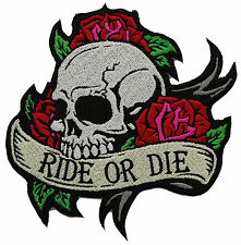 RIDE OR DIE SKULL WITH ROSES BIKER PATCH