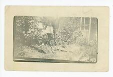 Boys Playing in Garden RPPC Amsterdam NY Antique Photo—Montgomery County 1911