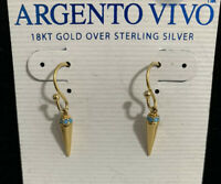 ARGENTO VIVO 18KT GOLD OVER STERLING SILVER Dangle Earrings Minimalist