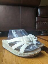 FitFlop Rosita Raffia Womens White Flower Sandal Slides SIZE 9