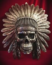 Skull Warrior Indian Headdress-Wall Mounted-Skulls Skeleton Gothic Home decor