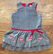 Janie & Jack Victorian Holiday Girls Gray Velveteen Dress Roses Tulle Trim 3-6m