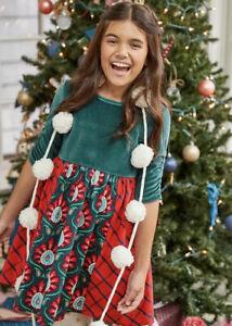 Matilda Jane IN THE SPIRIT Dress Size 6 Girls Christmas Green Velour Red New