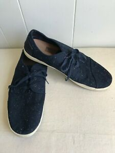 TOMS Men's Fleck Paseo Sneakers Size 14 Navy Canvas White & Navy Sole Used