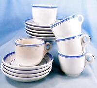 Antique Ironstone Demitasse Dessert Set White Blue Bands W M Co 14 Pieces