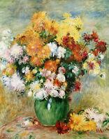 "Auguste Renoir CANVAS PRINT Chrysanthemums Art painting poster 16""X12"""