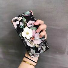 3D Flower Plastic Matte Smooth Hard Metal Pendant Case Cover For iphone 7 PLUS