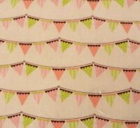 Tiny Menagerie Heather Rosas BTY Camelot Cottons Lime Coral Brown Beige Pennants