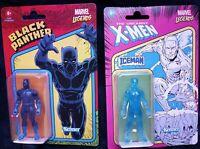 "Marvel Legends Kenner Black Panther & Iceman 3.75"" FIGURES 2021 LOT OF 2 hasbro"