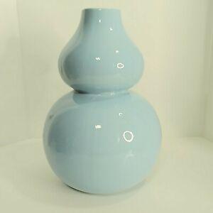 """Jonathan Adler """"Happy Chick""""  Light Blue Ceramic Gourd Vase 10 inch Tall"""