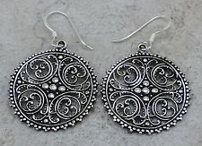EXOTIC  925 STERLING SILVER ROUND FILIGREE SWIRL EARRINGS  style# e1043