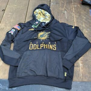 NWT NFL On Field Miami Dolphins NIKE Dri Fit Salute to Service Hoodie L Black