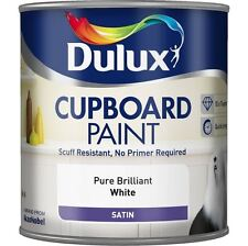 DULUX CUPBOARD PAINT SATIN NO PRIMER REQUIRED PURE BRILLIANT WHITE 600ML