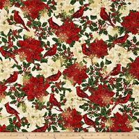 Timeless Treasures GLAMOROUS HOLIDAY CM4280 CREAM Poinsettia 100% Cotton Fabric