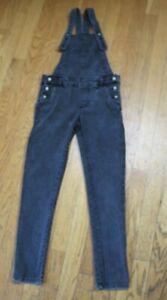 Zara Kids Denim Collection Girls Distressed Jean Overalls Gray/Black Size 9/10