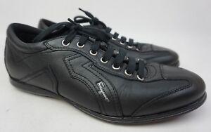Salvatore Ferragamo Millie 6 Black Leather Sneakers Men's Shoes Size US 7 2E EE