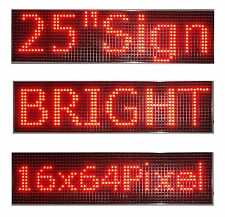 "2Pcs 25""x 6.5"" LED Sign Programmable Scrolling Window Message Display Red P10"