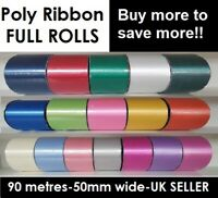 Poly Ribbon FULL ROLL Wedding Car Christmas Florist Art Craft Gift Wrap Flowers