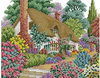 14 count aida needlepoint cross stitch landscape kit w colorful chart GC68
