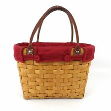 LONGABERGER Lined Round Basket Bag Leather Handles Tote Purse