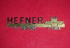 NOS NEW HEFNER CHEVROLET CHEVY 500 E STATE DEALER EMBLEM FORT WAYNE IND VINTAGE